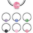 Surgical Steel Captive Glitter Ball Ring / Lip / Nose / Belly Bar / Nipple Ring
