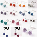 Pair 925 Sterling Silver Crystal Rhinestone 10mm Dangle Ball Beads Ear Earrings