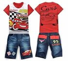Cars Lightning McQueen Boys Girls T-Shirts+Jean Shorts Suits Kids Sets 2-8Years