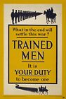 WA106 Vintage WW1 British Trained Men Become One Enlist War Poster A1/A2/A3/A4