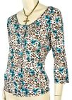 QVC Effortless Style CitiKnit 3/4 Sleeve Floral Button Dwn Slinky Knit Top XS-3X