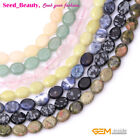 """8x10mm Oval Natural Stone Loose Beads For Jewelry Making 15"""" Beads in Bulk"""