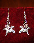 6 Different Silver Western Charm Earrings Horse Shoes Gun Cowboy Boots Bull