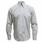 Relco White Long Sleeve Button Down Mod 60's Shirt With Navy Polka Dots S - XXL