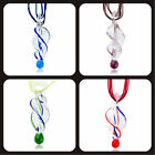 Pugster Stylish Murano Glass Bead Colorful Helix Pendant Necklace Charms Beads