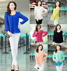 Women's Korean Fashion Chiffon Tops Long Sleeve Button Down Shirt Casual Blouse