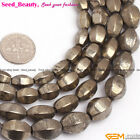 "Hexagonal olivary pyrite gemstone jewelry making loose beads 15"" selectable size"