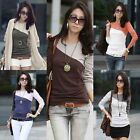 Casual Womens Long Sleeve Splice Patchwork Blouse T-Shirt Cotton Top Round Neck