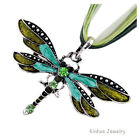Classic Dragonfly Charms Necklace With Chain Rhinestone Inlay Gemtone W21429 HOT