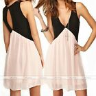 Sexy Women Deep V Neck Backless Chiffon Short Mini Dress Party Sleeveless Casual