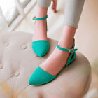 Plus size Women's Pointed Toe Mary Janes Flats Shoes Ankle Strap Cut Out Sandals