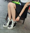 Fashion Women Sneakers Velcro High-Top Ankle Wedge Heels Boots Shoes Zipper Mesh