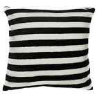 fa04a Black White Soft Fleece Striped Pattern Print Cushion Cover/Pillow Case