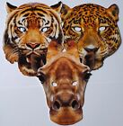 Animal Face Masks - Tiger, Leopard and Giraffe - Great for Parties