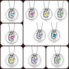 Pugster Women's Trinity Ring Hoops Good Luck Silver Birthstone Pendant Necklace
