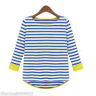 Women's Leisure Blouse Round Neck Shirt Blue Striped Lady 3/4 Sleeve Shirts Tops