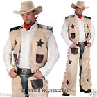 C938FW Cowboy Chap Wild West Western Gunslinger Rodeo Fancy Dress Mens Costume