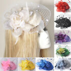 mini pillbox hat hair clip feather flower veil lady fascinator accessories gift