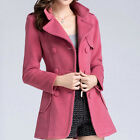 POLO Collar Double Breasted Slim Outerwear OL Wool Coat Jacket  [HA]