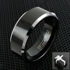 Tungsten Men's Polished Black Silver Edged Band Ring Size 7-15