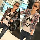 N4U8 Women Long Sleeve Comic Cartoon Jacket Outerwear Coat Sweater Top Outerwear