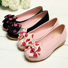 Sweet Women Girl Leather Polka Dot Bowknot Ballet Flats Slip On Shoes Casual Bow