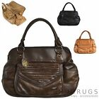 GENUINE LEATHER LORENZ LARGE HANDBAG TOTE BAG BLACK/BROWN/TAN/FAWN