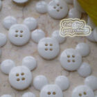 White Mickey Shape 20mm Plastic Buttons Sewing Scrapbooking Collectable Craft
