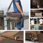 Hot Men Women's Genuine Leather Vintage  Canvas  Messenger Bag Handbag