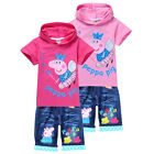 Kids Boys Girls Peppa Pig Hoodie Tops T-Shirts+Jeans Shorts Suits 2-8Years