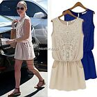 Women's Sexy Sleeveless Lace Chiffon Comfort Summer Skirt Mini Dress Evening N4U