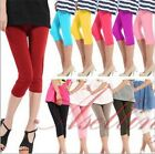 Womens Summer Stretch Candy Knee Cropped Pants Casual Slim Fit Skinny Leggings