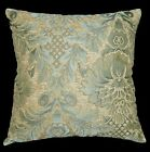 we60a Gray Blue Damask Flower Chenille Throw Pillow Case/Cushion Cover*Cust Size