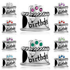 Pugster Happy Birthday Cake Birthstone European Bead Fit Crystal Charms Bracelet