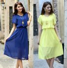 New Sale Women Lady Cap Sleeves Sundress Crew Neck Solid Color Knee-length Dress