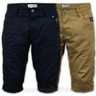 Mens Shorts Crosshatch Chino Style Bottoms Jeans Knee Length Half Pants Summer