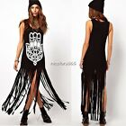 Women Punk Black Printed Vest Sleeveless Long Tassel Street Style Dress N4U8
