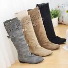 Women's Shoes Synthetic Leather Low Cuban Heel Knee High Boots US All Size b240