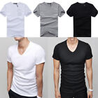 Hot Mens Round Neck V-Neck Short Sleeve Casual Slim Fit Ribbed Tee T-Shirt Top
