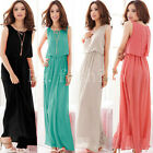 Ladies Chiffon Maxi Dress Size 8-16 Summer Long Skirt Evening Cocktail Party TOP