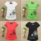 Womens Tshirt T Shirt Top Gym Clothes Workout Fitness Logo Sports T-shirt