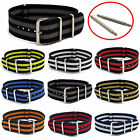 NATO Watch Strap Striped Webbing Military Choice of colour, sizes FREE Pins C047