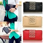 Hot Womens Card Coin Holder Rivet ZIP Wallet Leather Wallet Clutch Purse Handbag