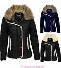 LADIES JACKET NEW WOMENS QUILTED FUR COLLAR PADDED BUTTON ZIP COAT SIZE 8-14
