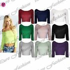 Womens Ladies Off Shoulder Stretchy Celebrity 3/4 Sleeves Vest T Shirt Crop Top