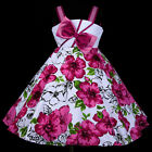 w801 a6 UkG White Magenta X'mas Dance Party Flower Girls Dress 2,3,4,5,6,7,8-12y