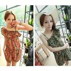 New Women Floral Chiffon Jumpsuit Romper with shoulder-straps Beach Casual Pants
