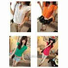 New Women Summer Short Sleeve Front Button Shirt Tops Solid Color Blouse T-Shirt