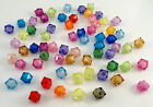 Acrylic Bead In Bead Style Beads, Transparent Mixed Colour , Faceted Cube, 10 mm