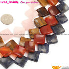 "15mm twist diagonal square gemstone jewelry making loose beads 15"" ,16 materials"